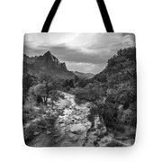 Zion National Park In Black And White  Tote Bag