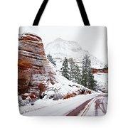 Zion Road In Winter Tote Bag