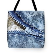 Zipper In Blue Tote Bag