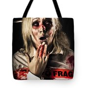 Zombie Woman Expressing Fear And Shock When Waking Tote Bag