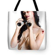 Zombie Woman With Binoculars Tote Bag