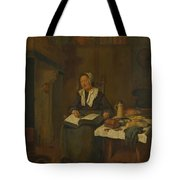 A Woman Asleep By A Fire  Tote Bag