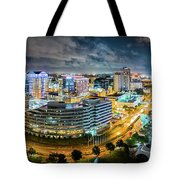 Aerial Panorama Of Norfolk, Virginia By Night Tote Bag by Mihai Andritoiu