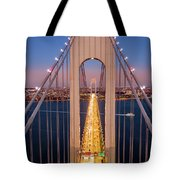 Aerial View Of Verrazzano Narrows Bridge Tote Bag by Mihai Andritoiu