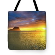 Amazing View Of Le Morne Brabant At Sunset.mauritius. Panorama Tote Bag