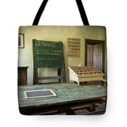 An Old Classroom With Blackboard And Boards With Old Script Tote Bag