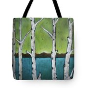 Aspen Trees On The Lake Tote Bag