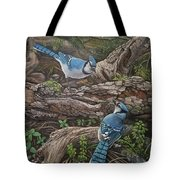 Blue Jay Stand Off Tote Bag