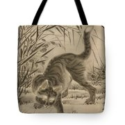 Cat Catching A Frog Tote Bag