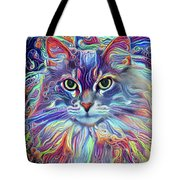Colorful Long Haired Cat Art Tote Bag by Peggy Collins