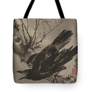 Crow On A Branch Tote Bag
