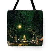 Dark Chicago City Street At Night Tote Bag