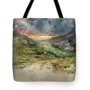 Digital Watercolor Painting Of Beautiful Dramatic Landscape Imag Tote Bag