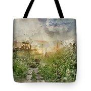Digital Watercolor Painting Of Beautiful Vibrant Summer Sunrise  Tote Bag