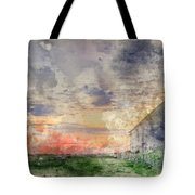 Digital Watercolor Painting Of Old Barn In Landscape At Sunset Tote Bag