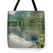Digital Watercolor Painting Of Panorama Landscape Rowing Boats O Tote Bag