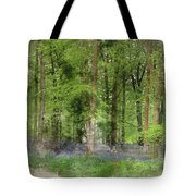 Digital Watercolor Painting Of Stunning Bluebell Forest Landscap Tote Bag