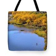Distant Fisherman On The San Juan River In Fall Tote Bag