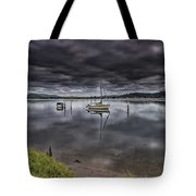 Early Morning Clouds And Reflections On The Bay Tote Bag