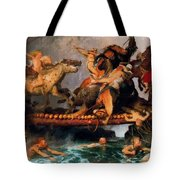 Fighting On A Bridge  Tote Bag
