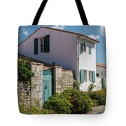 french houses in the streets of Saint Martin de re Tote Bag