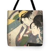 Geisha And Attendant On A Rainy Night Tote Bag
