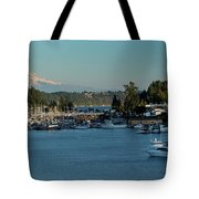 Gig Harbor Marina With Mount Rainier In The Background Tote Bag