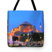 Hagia Sophia At Night Istanbul Turkey  Tote Bag