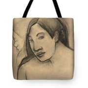 Heads Of Tahitian Women, Frontal And Profile Views Tote Bag