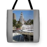 Los Angeles City Hall And Arthur J. Will Memorial Fountain Tote Bag