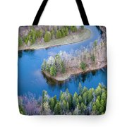 Manistee River Bend From Above Tote Bag