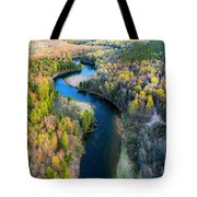 Manistee River From Above In Spring Tote Bag