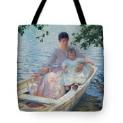Mother And Child In A Boat Tote Bag
