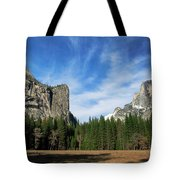 North Dome And Half Dome, Yosemite National Park Tote Bag