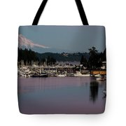 Pink Purple Glow Over Mount Rainier And Gig Harbor Marina After Sunset Tote Bag