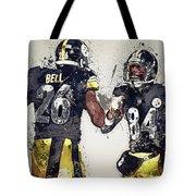 Pittsburgh Steelers.le'veon Bell And Antonio Brown Tote Bag