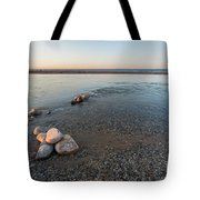 Platte River Mouth At Sunset Tote Bag