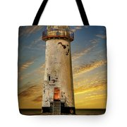 Point Of Ayr Lighthouse Sunset Tote Bag