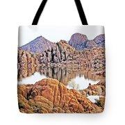 Prescott Arizona Watson Lake Rocks, Hills Water Sky Clouds 3122019 4868 Tote Bag
