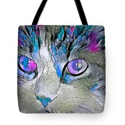Purple Stained Glass Kitty Tote Bag by Don Northup