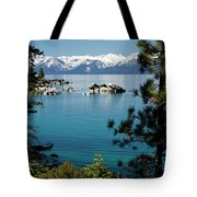 Rocks In A Lake With Mountain Range Tote Bag