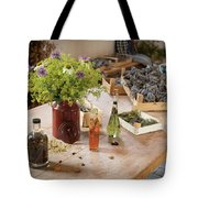 Rustic Wooden Table With Various Herbs And Flowers Tote Bag