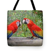 Scarlet Mackaw Couple Tote Bag by Peggy Collins