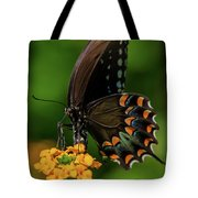 Spicebush Swallowtail On Lantana Blooms Tote Bag