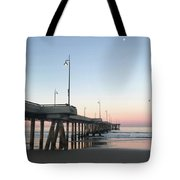 Sunrise At Venice Beach Pier Tote Bag by Art Block Collections