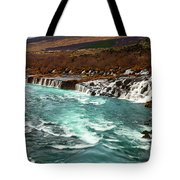 The Beautiful Cascades Of Hraunfossar In Iceland. Tote Bag