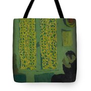 The Green Interior  Figure Seated By A Curtained Window   Tote Bag