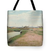 The River And The Harbour At Frederiksvaerk Tote Bag