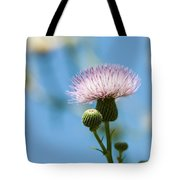 Thistle With Blue Sky Background Tote Bag