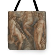Three Goddesses  Minerva, Juno And Venus Tote Bag